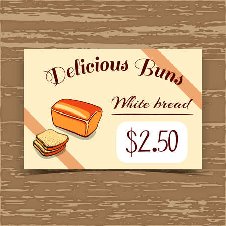 Price tag for bakery or cafe with hand drawn bread. Vector illustration. Illustration
