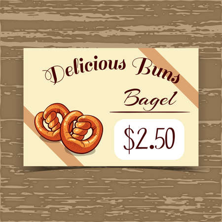 bake sale sign: Price tag for bakery or cafe with hand drawn bagels. Vector illustration.