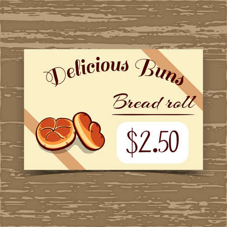 bake sale sign: Price tag for bakery or cafe with hand drawn rolls. Vector illustration. Illustration