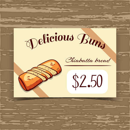 bake sale sign: Price tag for bakery or cafe with hand drawn bread. Vector illustration. Illustration