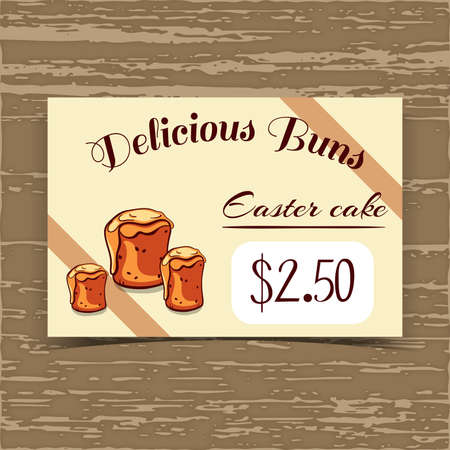 bakery price: Price tag for bakery or cafe with hand drawn cakes. Vector illustration.