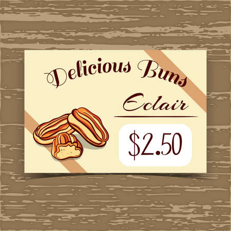 bake sale sign: Price tag for bakery or cafe with hand drawn eclairs. Vector illustration. Illustration