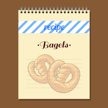 bagels: Page for recipe book with hand drawn bagels. Illustration