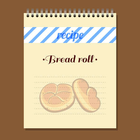 recipe book: Page for recipe book with hand drawn bread. Illustration