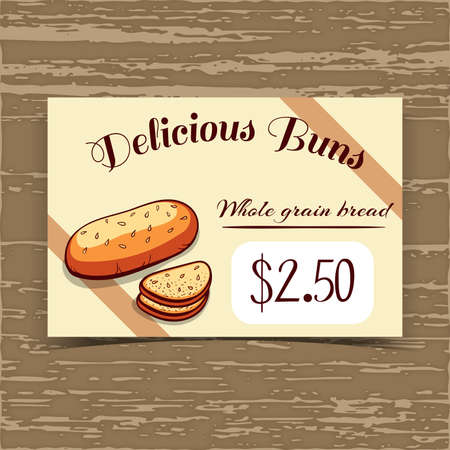 bake sale sign: Price tag for bakery or cafe with hand drawn bread.