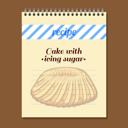 recipe book: Page for recipe book with hand drawn cake. Illustration