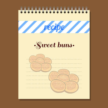 buns: Page for recipe book with hand drawn buns.
