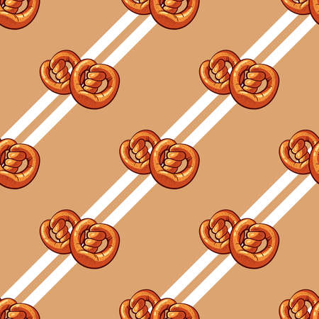 bagels: Seamless pattern made from hand drawn bagels and white stripes. Illustration