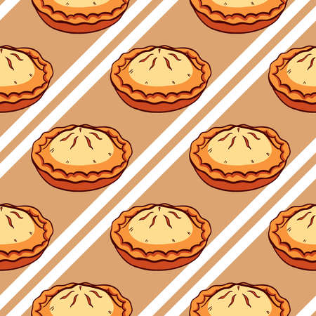 apple pie: Seamless pattern made from hand drawn pies and white stripes.  Illustration