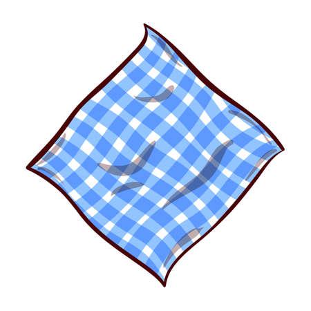 Hand drawn gingham blue napkin on white background.