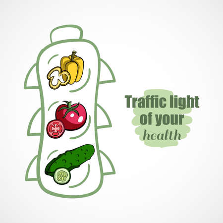 eating right: Traffic light made from ripe vegetables. Conceptual illustration.