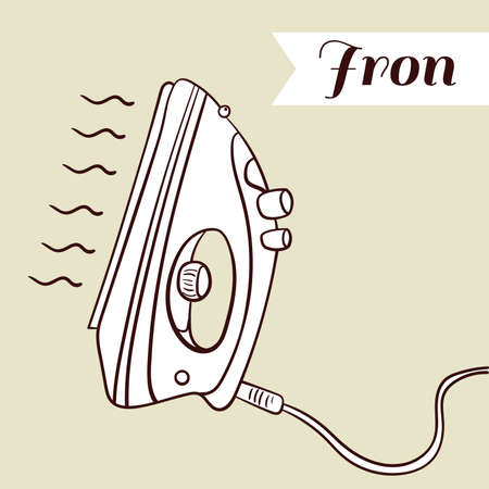steam iron: Hand drawn iron on beige background. Vector illustration Illustration