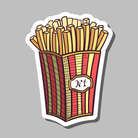 fried potatoes: Sticker with hand drawn fried potatoes in box. Vector illustration. Illustration