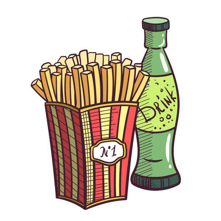 fried potatoes: Hand drawn fried potatoes and glass bottle with drink. Vector illustration.