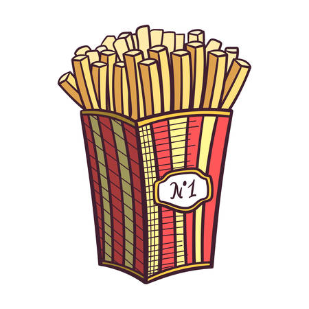 fried potatoes: Hand drawn fried potatoes in box. Vector illustration. Illustration