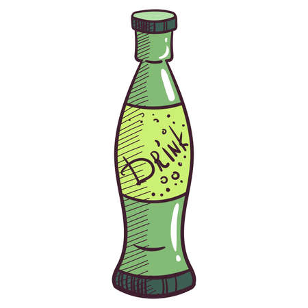 plastic bottles: Hand drawn glass bottle with drink. Vector illustration.
