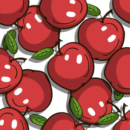 Seamless pattern made from hand drawn red apples. Vector illustration.