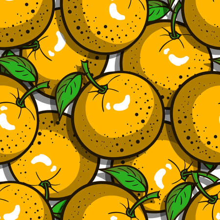 gastronome: Seamless pattern made from hand drawn oranges. Vector illustration. Illustration