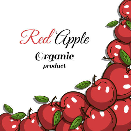 gastronome: Frame made from hand drawn red apples. illustration.