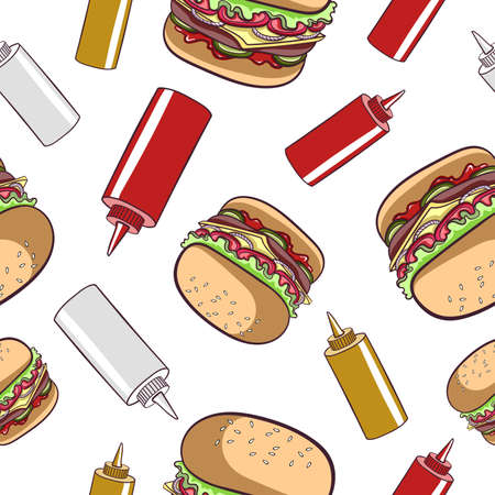 catsup: Seamless pattern made from  hamburgers and sauces. illustration. Illustration