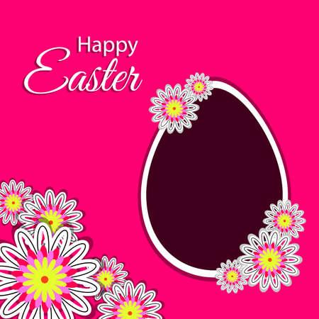 postcard background: Happy easter postcard - egg with flowers on pink background. illustration.