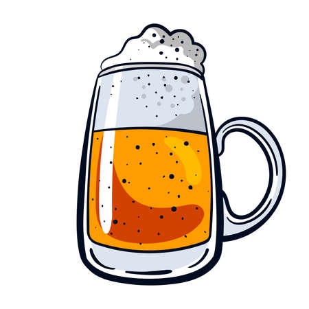 tankard: big mug of beer isolated on white background.  illustration in cartoon style.