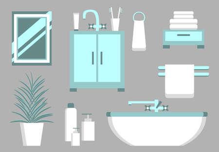 bathroom equipment: Set of bathroom elements. Bathroom interior vector. Bathroom equipment. Bathtub, sink, mirror, towel, soap. Bathroom design in flat style. Bathroom furniture isolated. Illustration