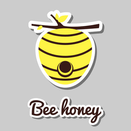 agricultura: House of bees. Sticker with beehive on gray background. Vector illustration. Illustration