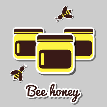 apiculture: Honey icon. Three jars of honey and bees. Vector illustration.