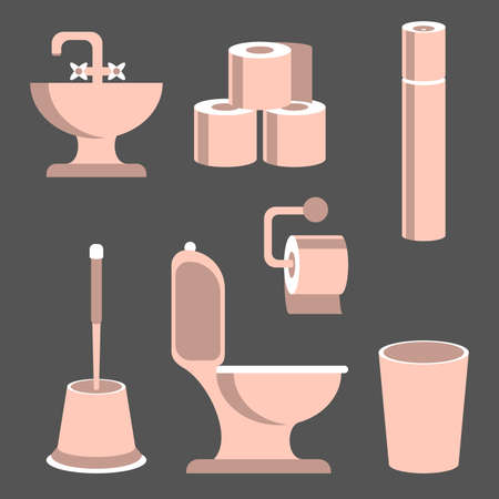 defecation: Toilet supplies, hygiene accessories isolated on greay background. Vector illustration.