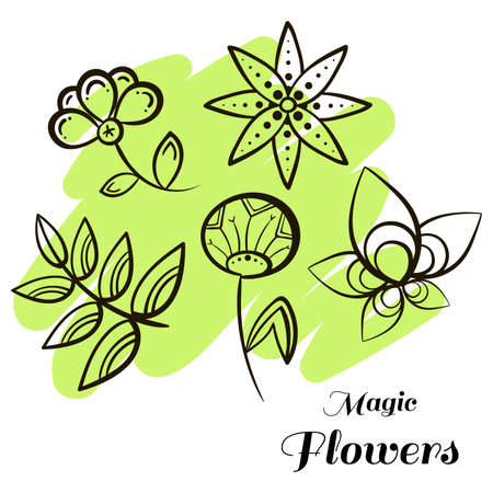 pastiche: Set of doodle flowers on bright background.