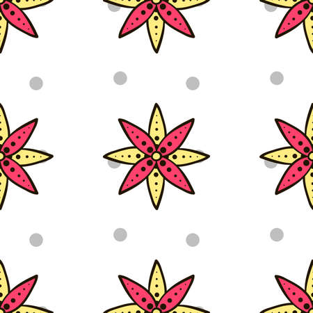 pastiche: Seamless pattern made from hand drawn flowers and gray circles on white background