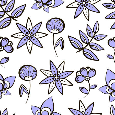 pastiche: Seamless pattern made from purple hand drawn flowers on white background.