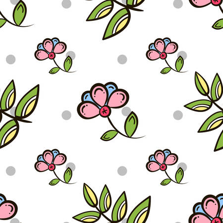 pastiche: Seamless pattern made from hand drawn flowers, leaves and gray circles on white background.