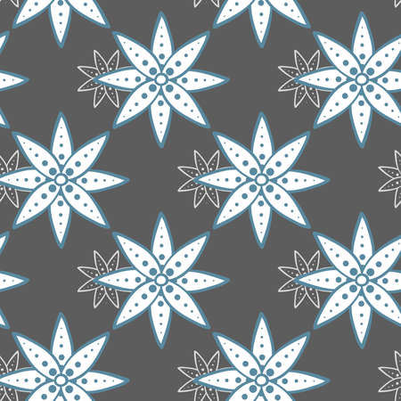 background pattern: Seamless pattern made from hand drawn blue flowers on gray background. Illustration
