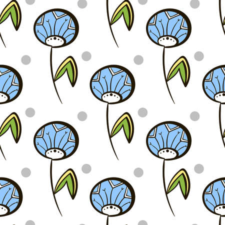 pastiche: Seamless pattern made from hand drawn flowers and gray circles on white background. Vector illustration. Illustration