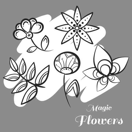 pastiche: Set of doodle flowers on gray background.