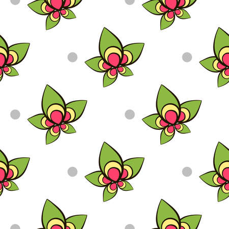pastiche: Seamless pattern made from hand drawn flowers and gray circles on white background.