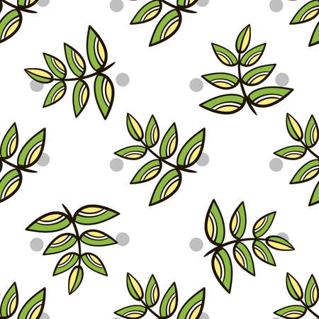 pastiche: Seamless pattern made from hand drawn leaves and gray circles on white background.
