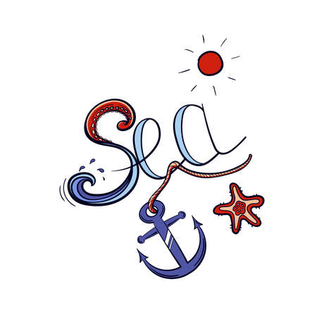 Lettering - Sea with hand drawn anchor, starfish and sun.