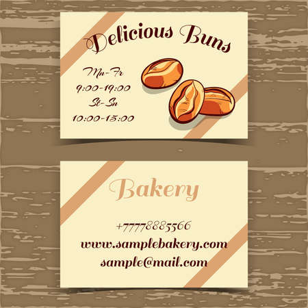 bake sale sign: Business card for bakery with hand drawn buns