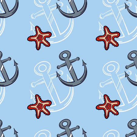 Seamless pattern made from hand drawn gray anchor and red starfish on blue background.