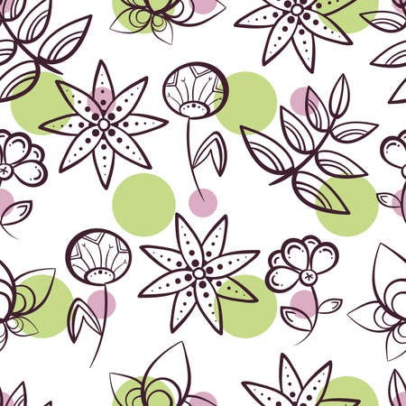 pastiche: Seamless pattern made from purple flowers and colored circles on white background. illustration.