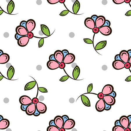 pastiche: Seamless pattern made from  flowers and gray circles on white background. illustration.