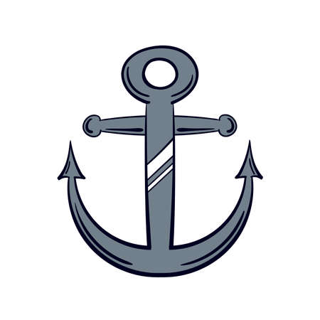 drawn metal: Hand drawn metal anchor isolated on white background. Vector illustration.