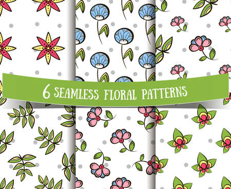 pastiche: Set of seamless patterns made from hand drawn flowers, leaves and gray circles on white background. Vector illustration.