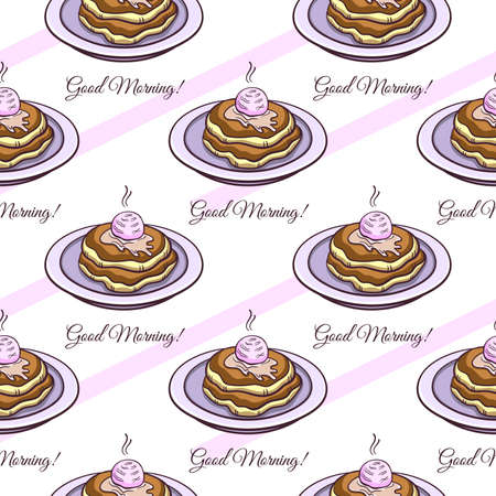 pink stripes: Seamless pattern made from hand drawn pancakes on a plate, text and pink stripes on white background.