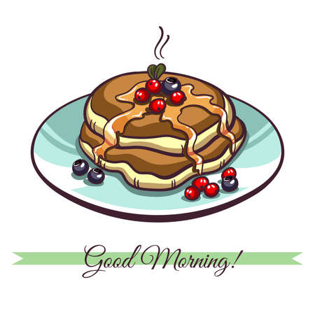 syrup: Hand drawn pancakes with syrup and berries on a plate. Pancakes in cartoon style isolated on white background. Vector illustration.