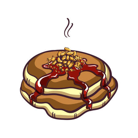 hand jam: Hand drawn pancakes with nuts and jam. Pancakes in cartoon style isolated on white background. Vector illustration.