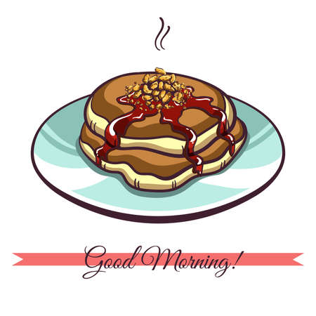 hand jam: Hand drawn pancakes with nuts and jam on a plate. Pancakes in cartoon style isolated on white background. Vector illustration.